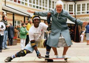 A gran on a skateboard