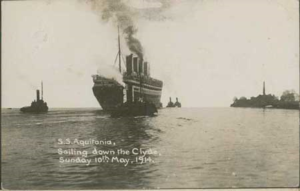 A photo of a four funnel cruise liner on the Clyde with some saloon steamers